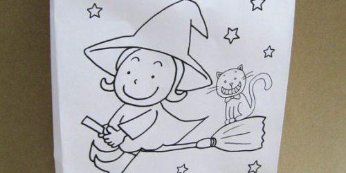 英語教室のハロウィンイベント用、塗り絵も楽しめるクラフト紙手提げ袋