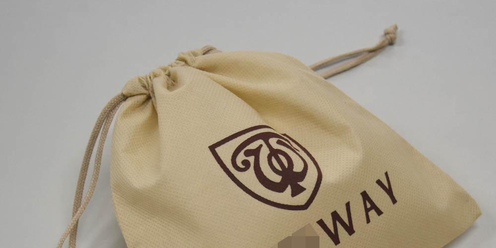 アパレル向け商品お持ち帰り用不織布巾着袋(小)ベージュ