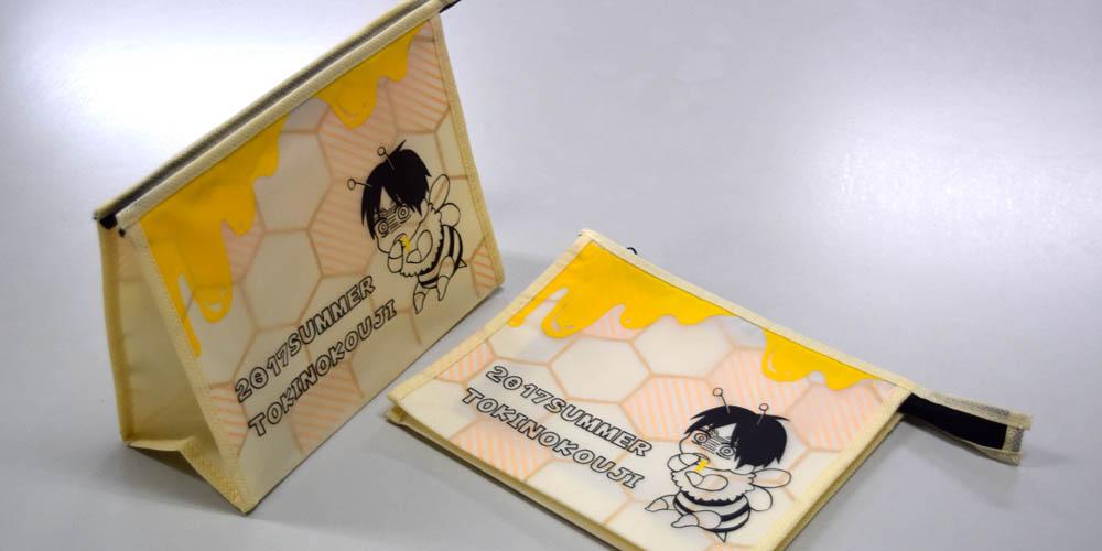 EVAの半透明素材を上手く使った、漫画家即売会イベント用のジッパー付きポーチ