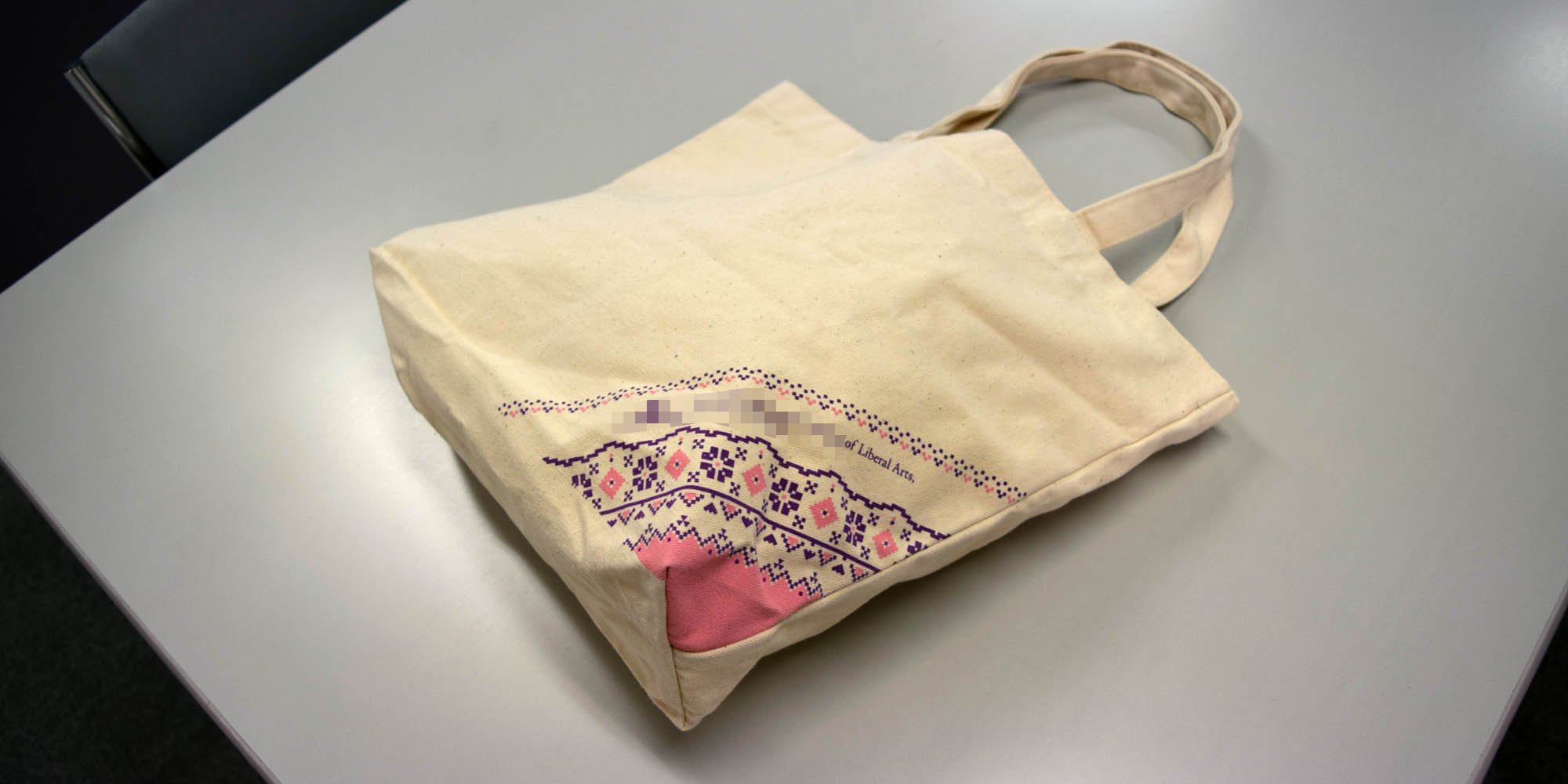 環境に配慮した天然素材仕様の帆布(コットン)エコバッグ。オープンキャンパス用