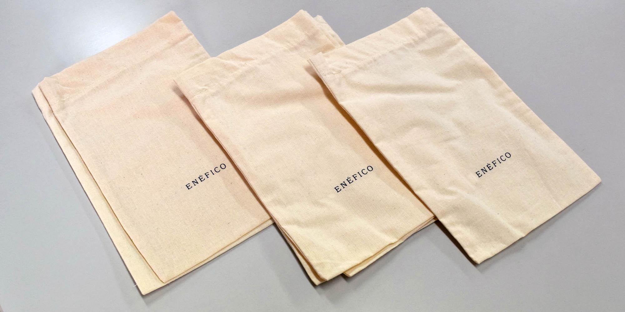 革製品販売持ち帰り用の、生成り帆布(コットン)を用いた平袋(2サイズ)